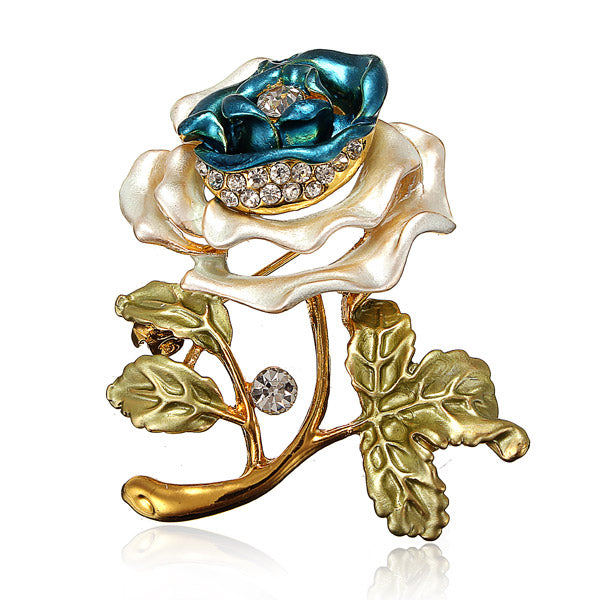 Flower Leaves Crystal Rhinestone Alloy Brooch Pin Accessories Deep Blue