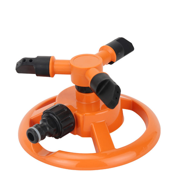Garden Lawn Sprinkler 3 Arms 360° Rotating Adjustable End Nozzle Watering System Orange