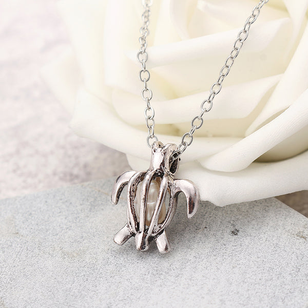 Retro Pearl Necklace Fashion Silver Color Hollow Openable Turtle Can Open Pendant Women Jewelry Silver