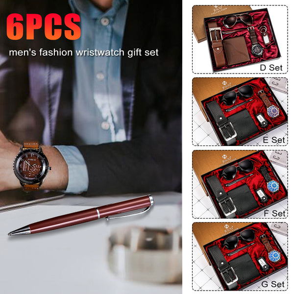 6PCS Fashion Gift Set Quartz Watch+Pen+Belt+Key Chain+Wallet +Sunglasses G