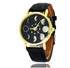 Solar Moon Phase Lunar Eclipse Leather Strap Unisex Watch Black