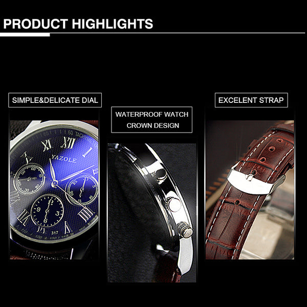 317 Men Watch Luxury Business Male Clock Quartz-Wrist Watch Leisure Fashion Leather  003