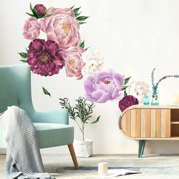 Pink Peony Rose Flowers Wall Sticker Vintage Mural Room Home Art Flora Decorations