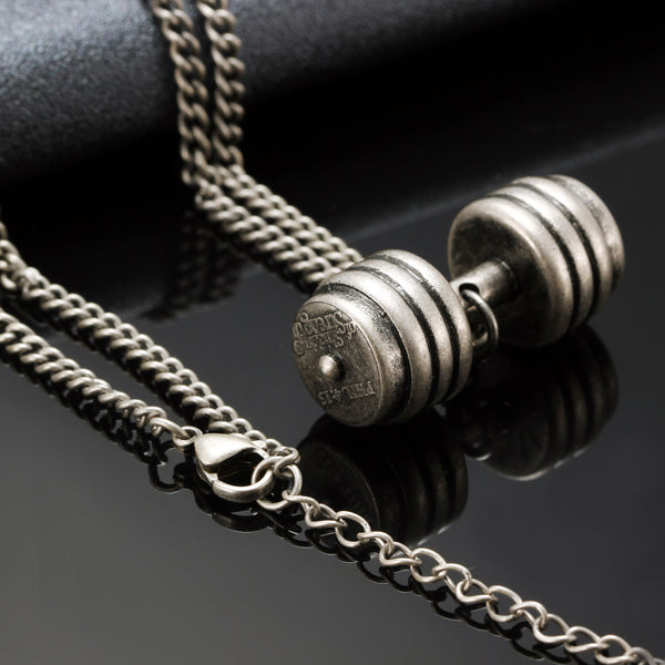 Titanium Dumbbells Exercise Gym Pendant Sweater Chain Necklace For Couple Women Men Antique Silver