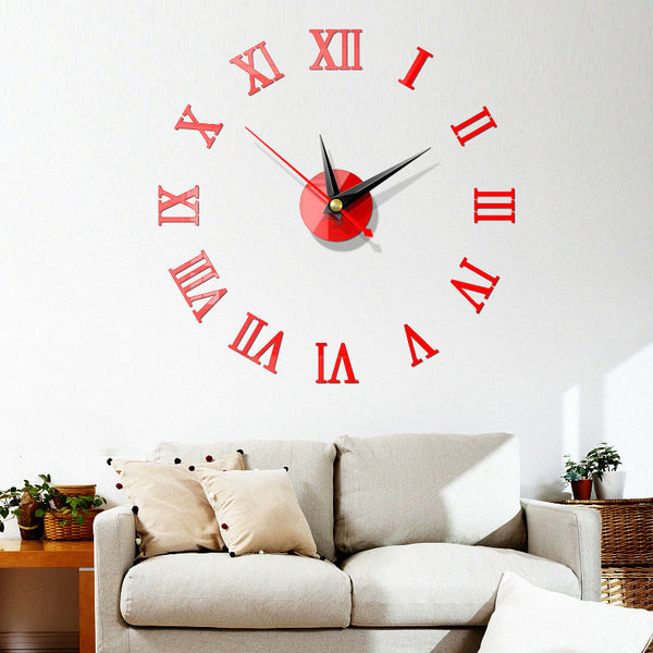5 Colors Modern DIY Wall Clock 3D Mirror Surface Sticker Home Office Room Decor  Red