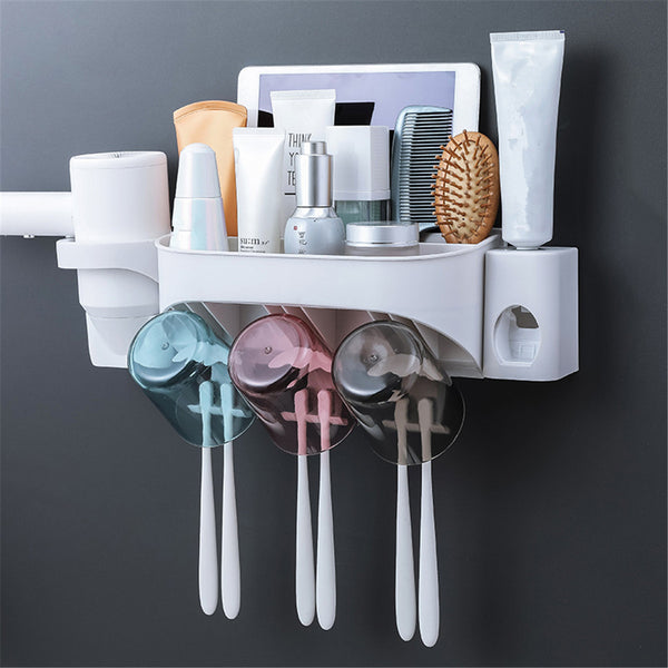 2/3/4 Cups Automatic Toothpaste Toothbrush Holder Wall Hanging Hair Dryer Rack 03