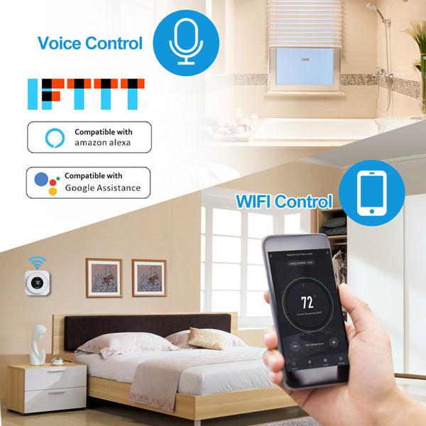 BECA Thermostat WiFi Programmable Heating/Cooling Thermostat Voice Control Temperature Regulator WiFi Room Temperature Controller Black