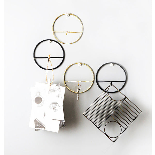 Wall Hooks Wrought Iron Geometric Hanger Hook Wall Hanging Bedroom Clothes Jewelry Home Decoration Gold