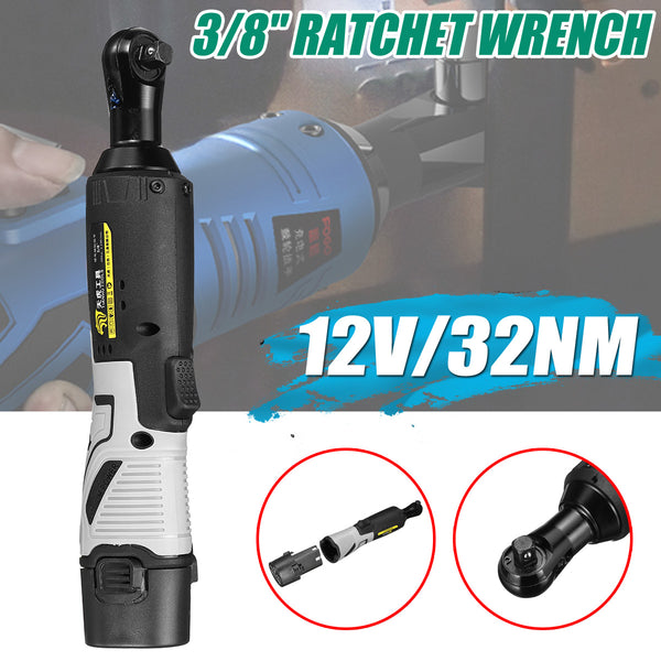 "12V 3/8"" Cordless Electric Ratchet Wrench Tool Set with Battery & Charger Kit 32NM 1300m"