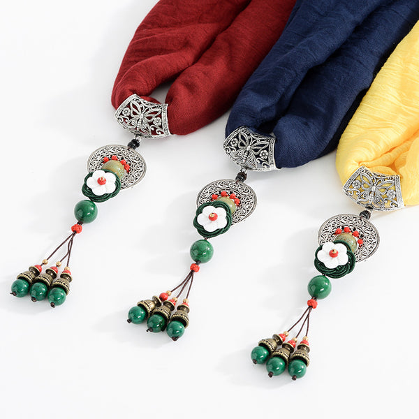 Ethnic Women Necklace Vintage Cotton Scarf Shell Flower Charm Green Beads Tassel Clothing Accessory  Red