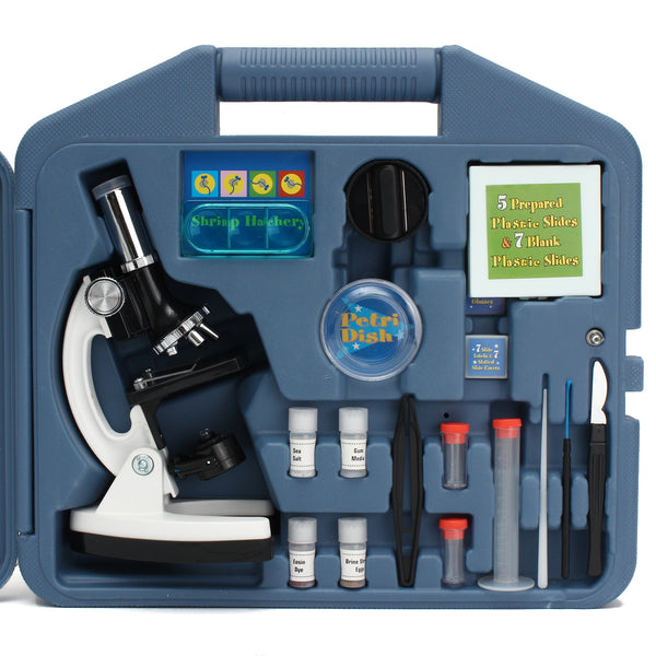 28Pcs Portable Educational Microscope Kit Biological Microscope Gift for Kids 100X 400X and 900X
