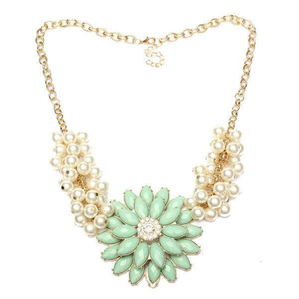 European Style Bauhinia Pearl Chain Flower Statement Necklace Light Green