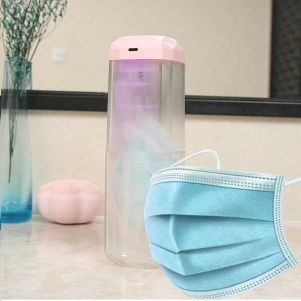 LED UV Disinfection Box Sterilization Storage Two in One Portable Disinfection Cup Pink