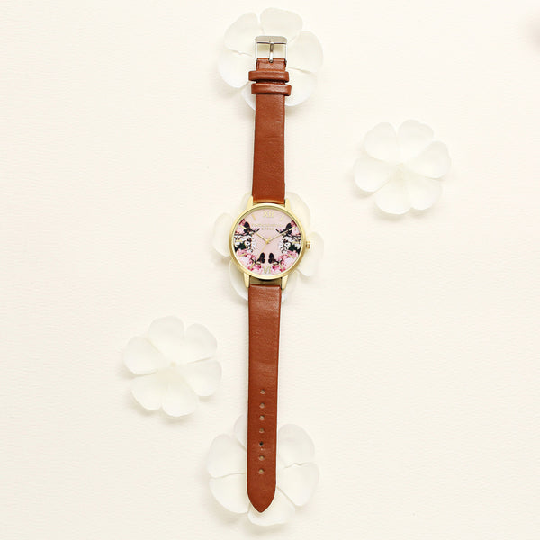LVPAI Casual Sweet Landscape Pattern PU Leather Strap Women Wrist Watch Quartz Watch NO.5