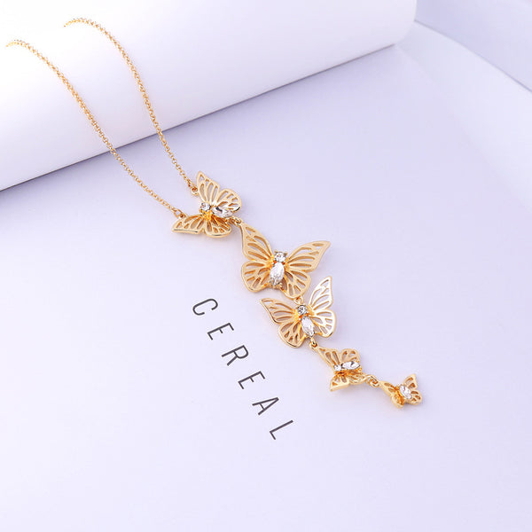 Sweet Butterfly Pendant Necklace Crystal Clothing Accessorie Rose Gold