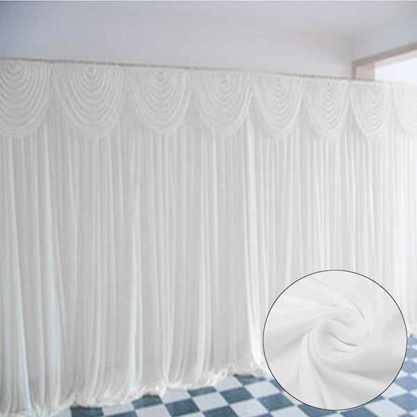 3x3M White Stage Wedding Party Backdrop Photography Background Drape Curtains