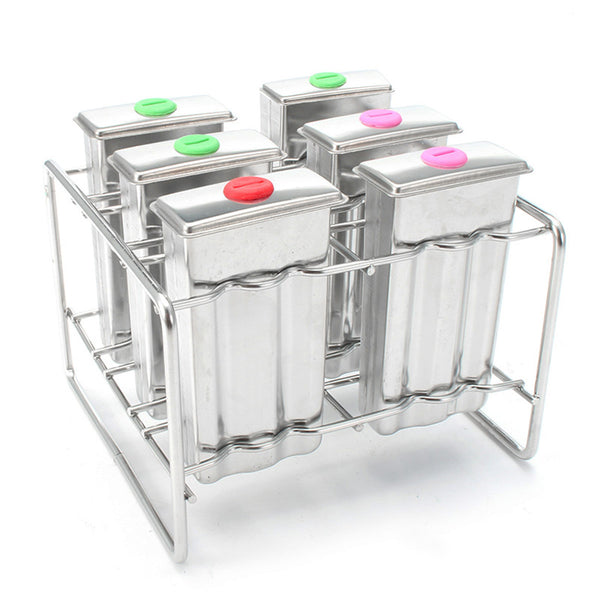 Stainless Steel Popsicle Mould Ice  Lolly Ice Cream Stick Holder 6 Molds