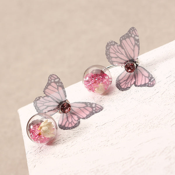 Trendy Crystal Glass Ball Flower Butterfly Fabric Earrings for Women  Purple