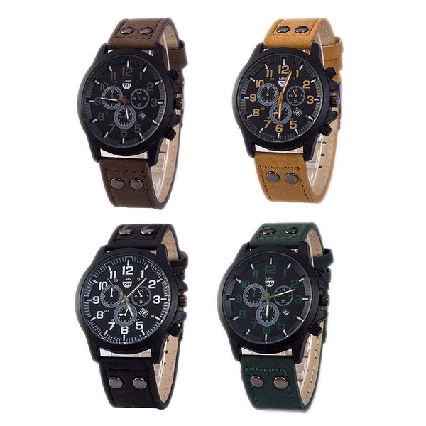 XSVO Fashion Casual Big Dial with Data Display PU Leather Men Quartz Watch Green