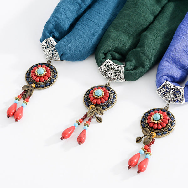Ethnic Turquoise Necklace Cotton Scarf Bohemian Flower Leaf Tassel Clothing Accessories Gift  Pink