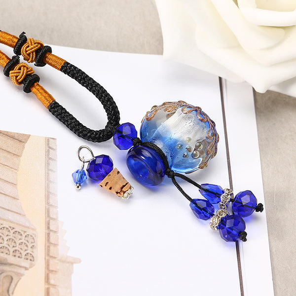 Trendy Delicate Aromatherapy Oils Glass Bottle Pendant Leather Long Necklace Gift for Women Men Green