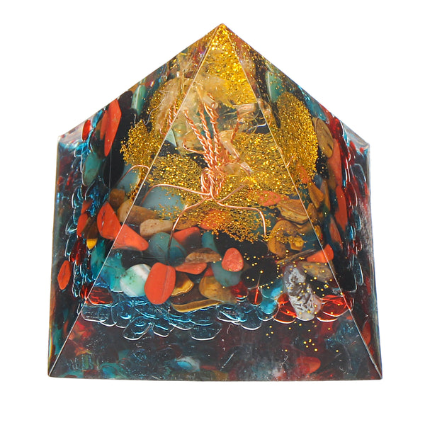 Orgonite Pyramid Energy Chakra Multiplier Reiki Orgone Peridot And Rainbow Fluorite Healing Decorations