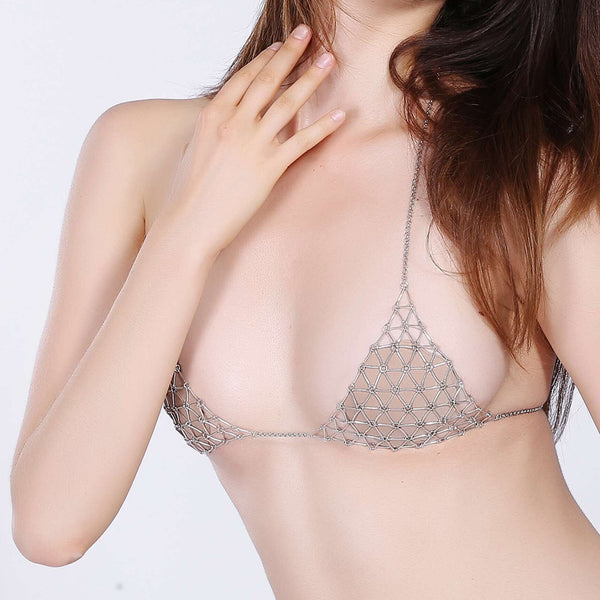 Exaggerated Hollow Triangle Geometry Beach Bra Body Chain  Gold