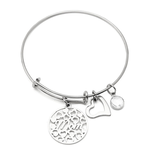 Heart Love Colorful Sweet Stainless Steel Bracelet for Mom February