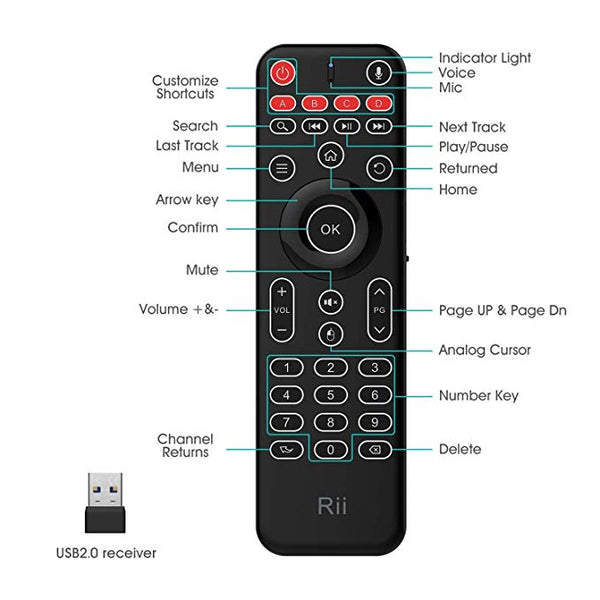 Rii MX9 Air Mouse Wireless Remote Conctroller with Keyboard Mic Voice Search Keyboard Backlight Remote