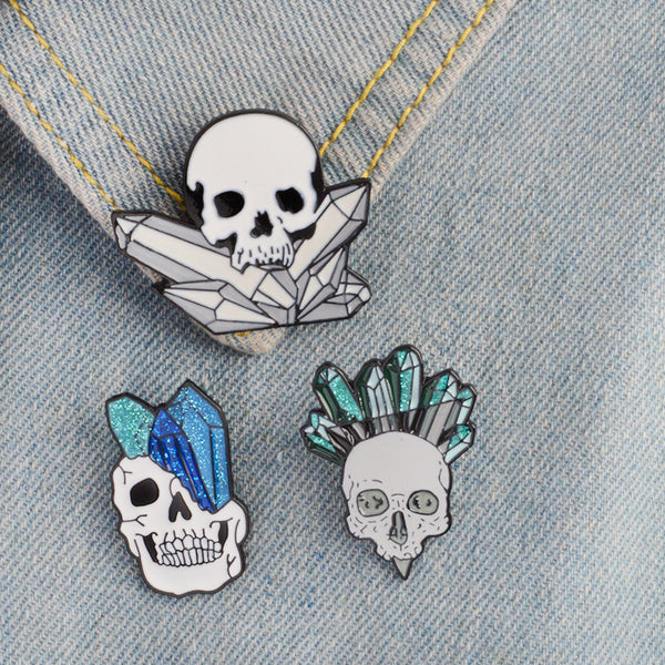 Cartoon Crystal Skull Enamel Pin Punk Skeleton Ore Brooches Badge Backpack Collar Pin Jewelry Gift #01