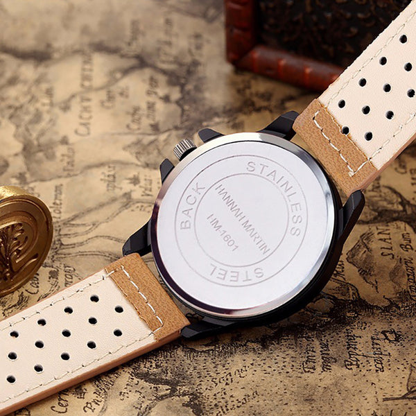 Fashion Causal Creative Date Display Waterproof Leather Strap Men Quartz Watch Black