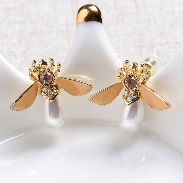 Cute Bees Ear Stud Luxury Gold Plated Gemstone Pearl Earring Yellow