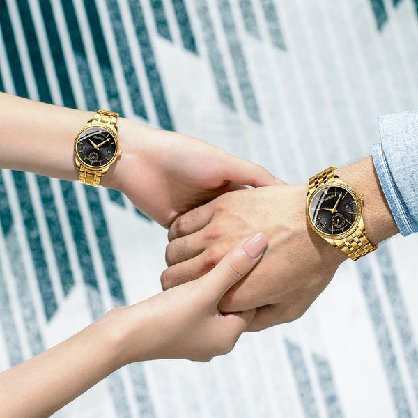 CHENXI CX-069A Gold Case Full Steel  Waterproof Couple Watch Gold/Female