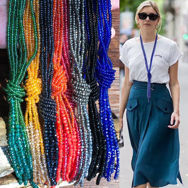 Bohemian Colorful Beaded Multi-layer Necklace Transparent Tassel Crystal Sweater Chain #4