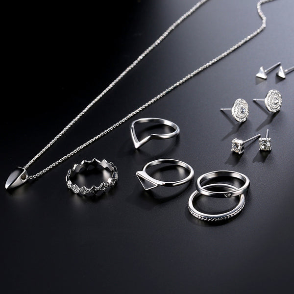 9 Pcs of Silver Plated Rings Crystal Earrings Geometric Necklace Jewelry Set Silver