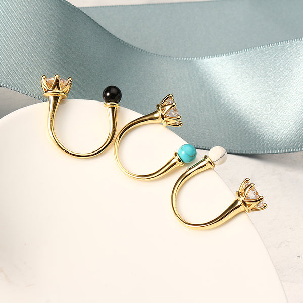 JASSY® Women Bohemian Turquoise Open Ring Simple 18K Gold Plated Gemstone Ring Anallergic Gift Black