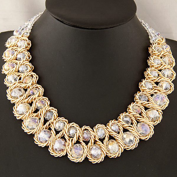 Women Multicolor Crystal Charm Gold Exaggerated Bib Necklace Royal