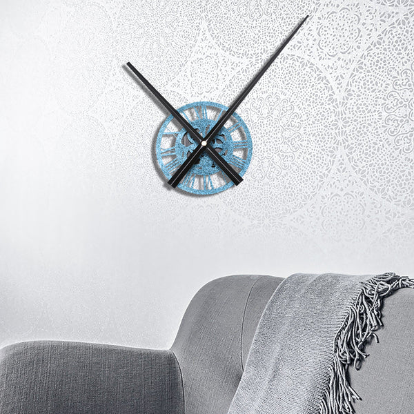 13cm Round Quartz Wall Clock Modern Home Living Room Hanging Watch DIY Decorations  Blue