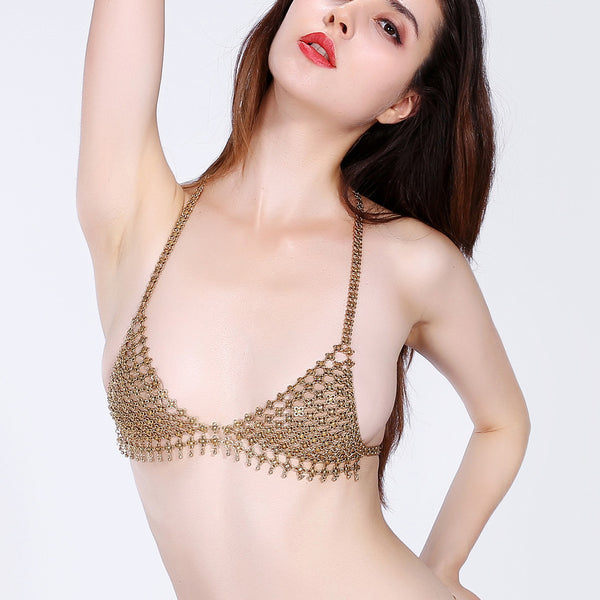 Sexy Hollow Tassel Flower Drop Beach Breathable Free Bra Body Chain #3