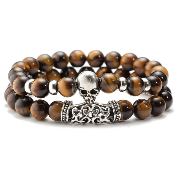 Black Lava Beaded Bracelet for Men Stainless Steel Double Layered Wheat Link Skull Charm Bracelets Male Halloween Jewelry Green