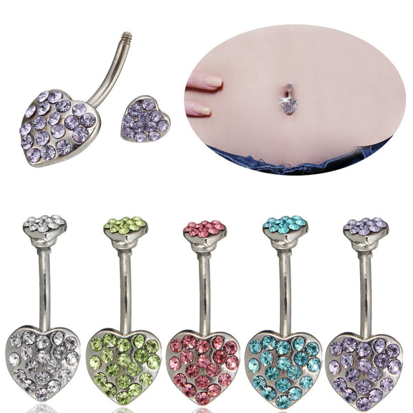 Heart Crystal Sexy Belly Navel Bar Ring Piercing Body Jewelry Purple