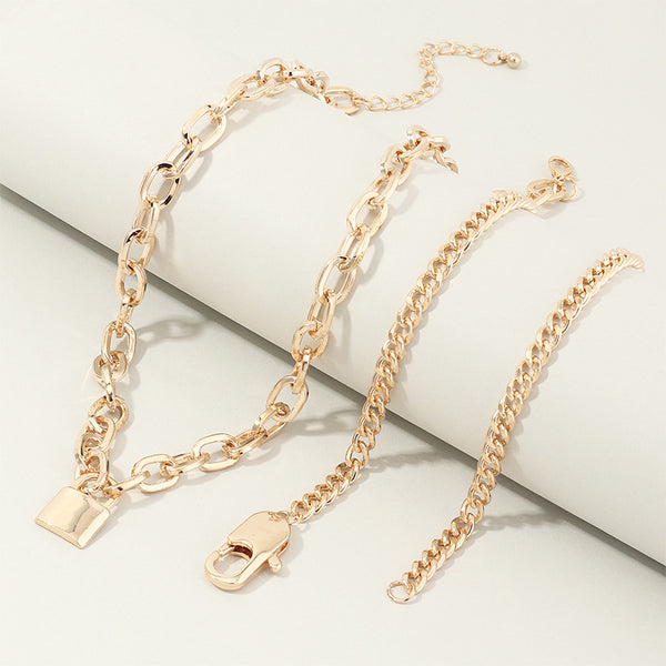 Punk Metal Lock Pendant Clavicle Chain Geometric Round Buckle Chain Multilayer Necklace Gold