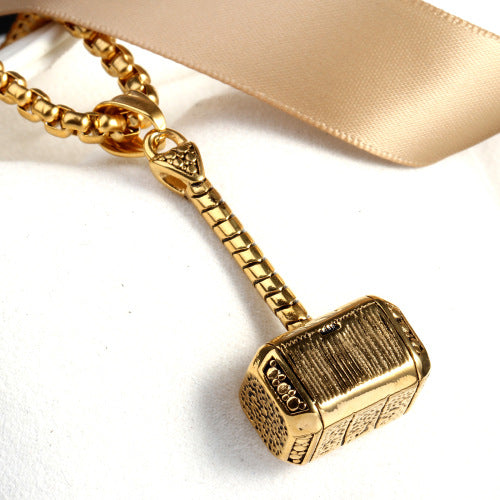 Stainless Steel Cool Hammer Quake Pendant Charm For Necklace Birthday Gift Gold