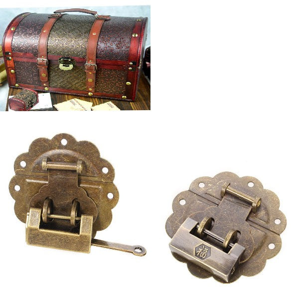 Jewelry Boxes Decorated Lock Ancient Antique Lock Horizontal Open Padlock   Buckle with Lace  Model 1