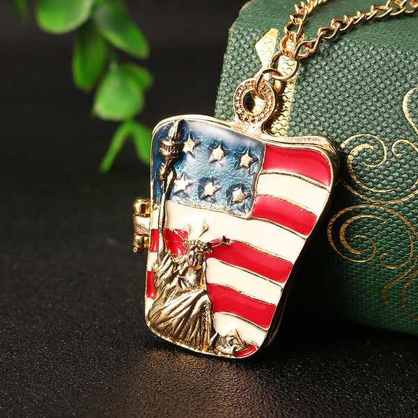 Statue of Liberty American Flag Pattern Necklace Unisex Clothing Accessories Colorful