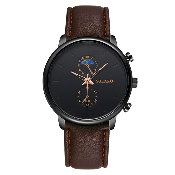 YOLAKO A0540 Masculino Fashion Style Waterproof  Men Leather Strap Quartz Watch NO.4