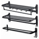 1 PCS Black towel rack space aluminum rack folding bathroom towel Shelf rack hotel hardware bathroom  50 / 60cm For Bathroom S