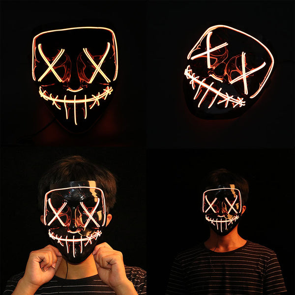 Halloween EL Glowing Mask Black V-shaped Blood Horror LED Face Mask Ghost Face Fluorescent Aatmosphere Props Blue