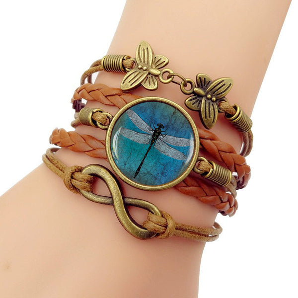 Retro Amber Blue Dragonfly Braided Bracelet Time Gemstone Infinite Symbol Printed Leather Bracelet 02