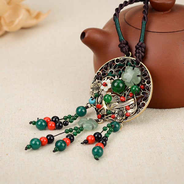 Ethnic Retro Flower Bead Necklace Vintage Rope Jade Tassel Necklace for Women Brown